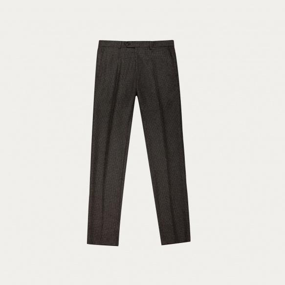 Pantalon pied-de-poule marron