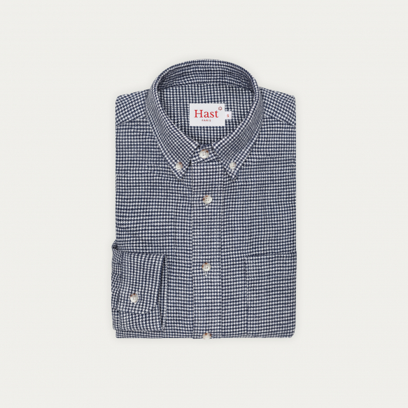 Navy blue houndstooth...