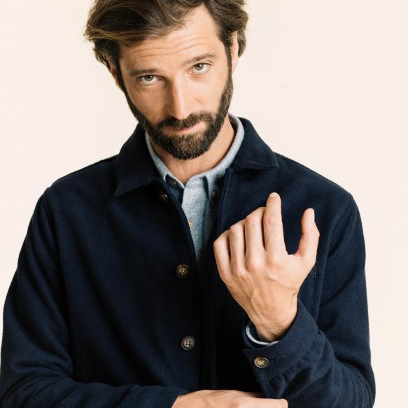 Blue flannel worker's jacket