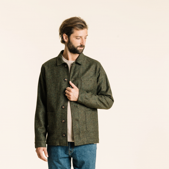 Veste de travail en laine verte