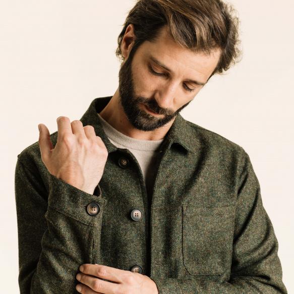 Green wool worker's jacket