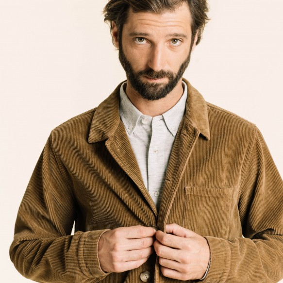 Camel corduroy worker's jacket