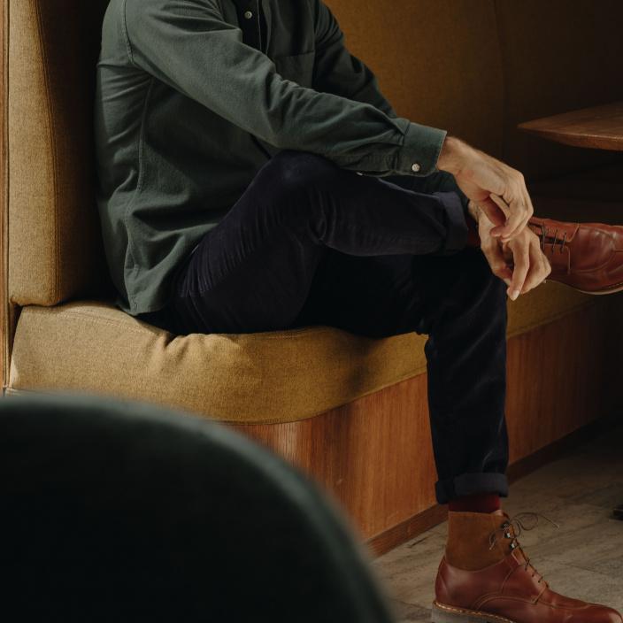 Blue corduroy chino pants