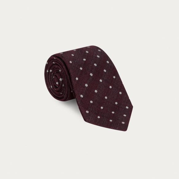 Cravate bordeaux à pois