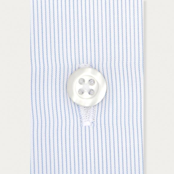 Chemise classique en popeline faux-uni à rayures bleues poignets mousquetaires