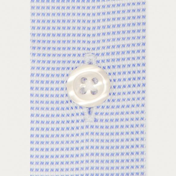 Chemise cintrée en royal oxford pied de puce bleue