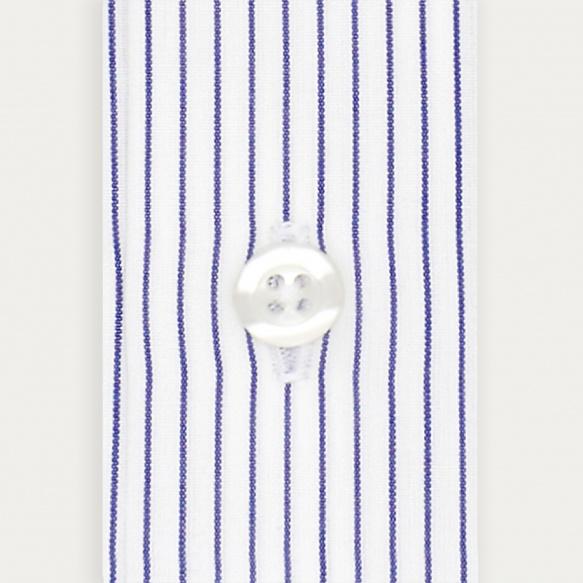 Chemise cintrée en popeline à rayures bleu nuit