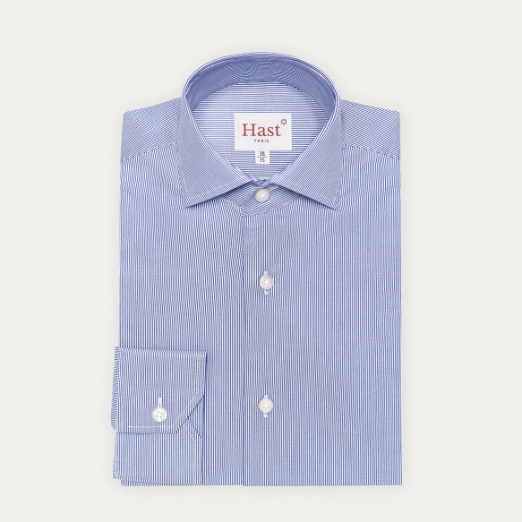Chemise cintrée en twill à rayures bleu marine