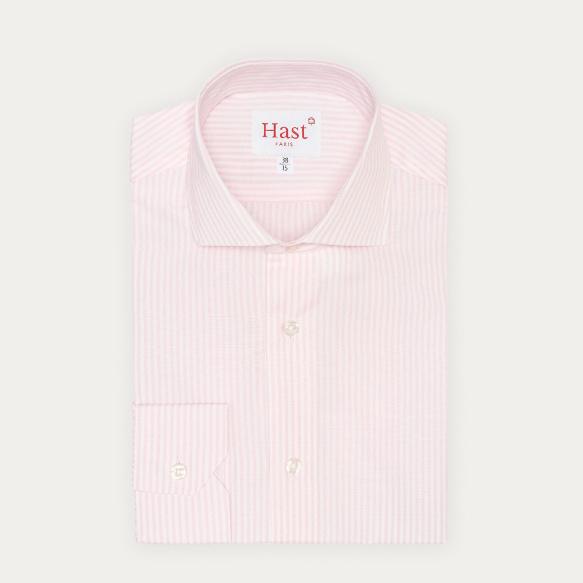 Chemise cintrée en popeline à rayures roses