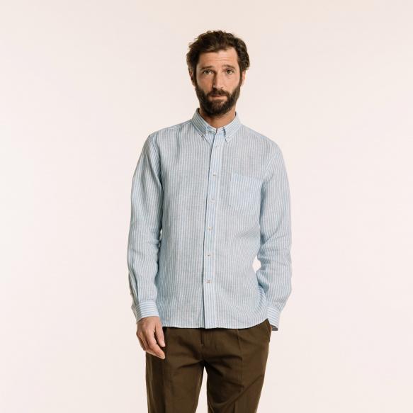 Chemise décontractée en lin à rayures bleues
