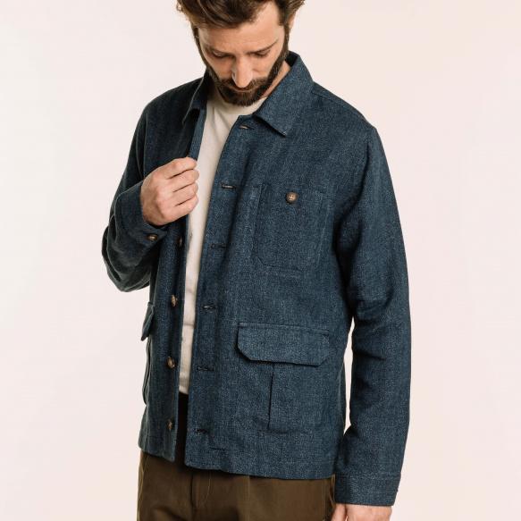 Blue textured worker's jacket
