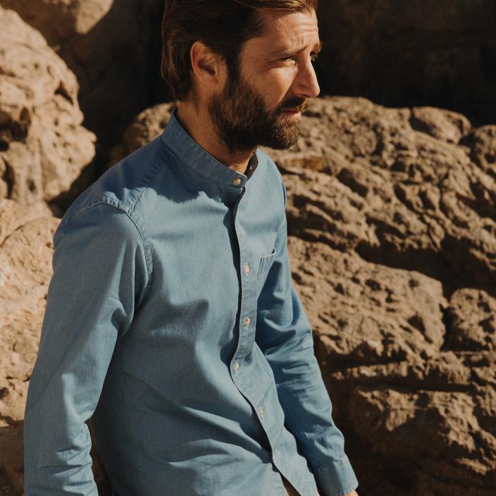 Blue denim casual shirt
