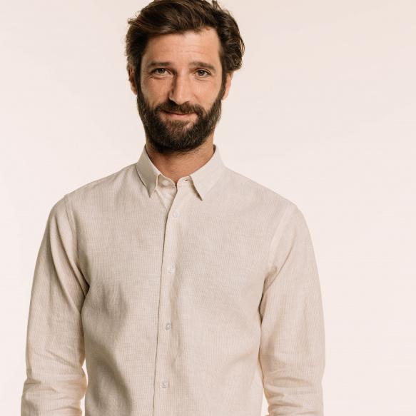 Chemise classique en lin et coton à rayures beiges