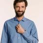 Classic fit blue Italian chambray shirt
