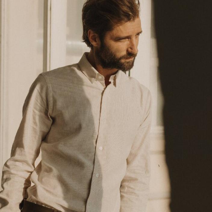 Classic fit beige stripes linen and cotton shirt