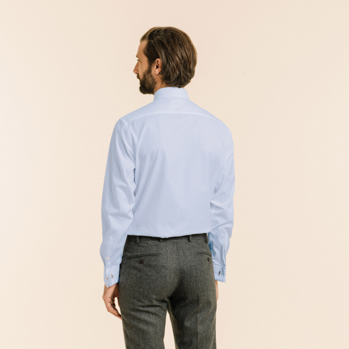 Classic fit oxford blue shirt with french cuffs
