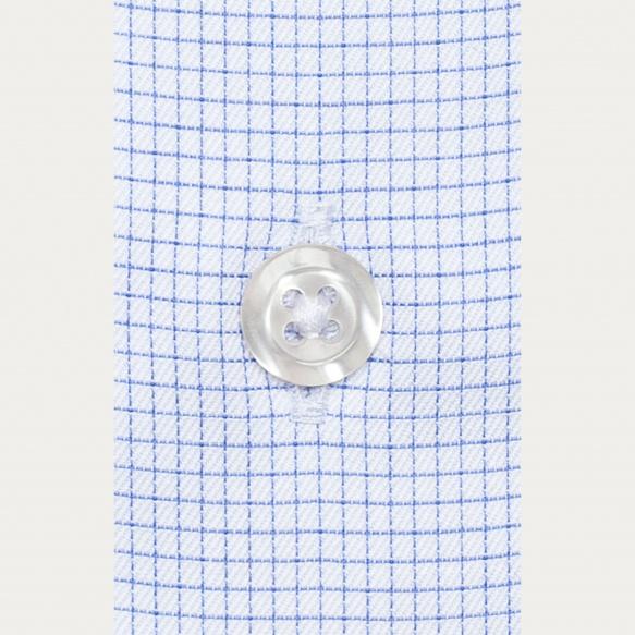 Chemise classique en twill à fins carreaux bleus