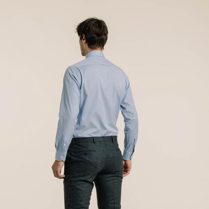 Classic fit poplin blue stripes shirt