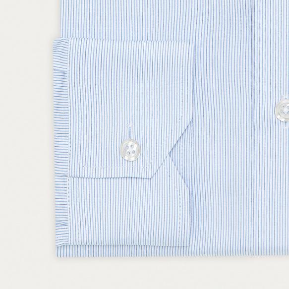 Chemise classique en twill à rayures bleues