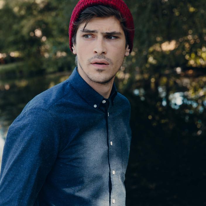 Textured blue oxford casual shirt
