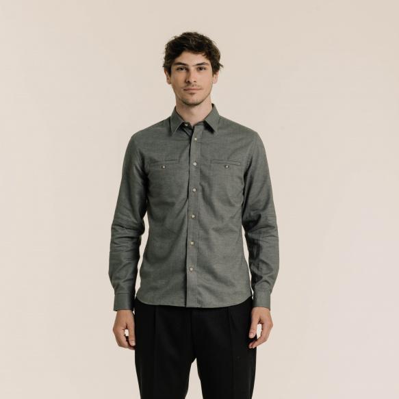 Chemise décontractée en flanelle gris-vert