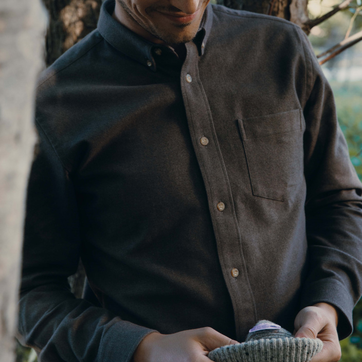 Chestnut thick flannel casual shirt