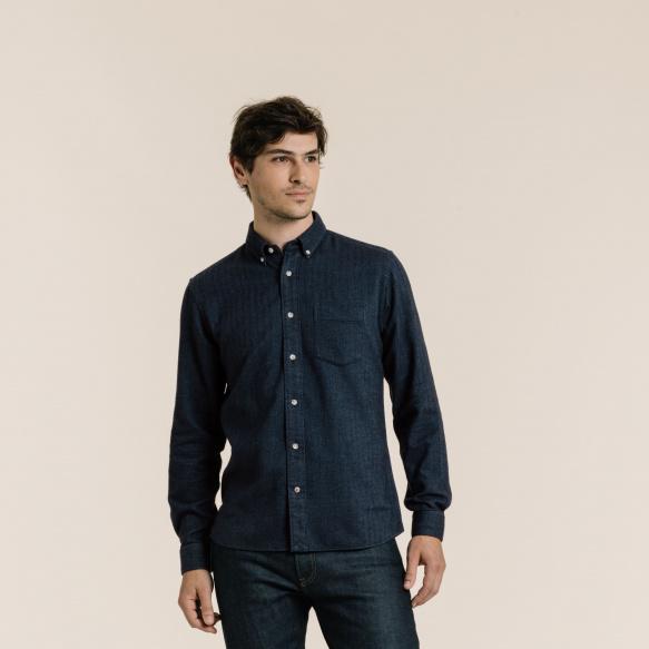 Chemise décontractée en flanelle bleue à chevrons