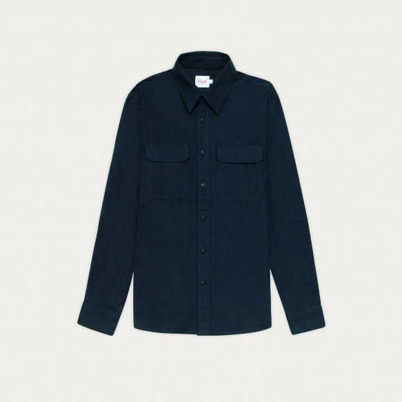 Blue thick flannel overshirt