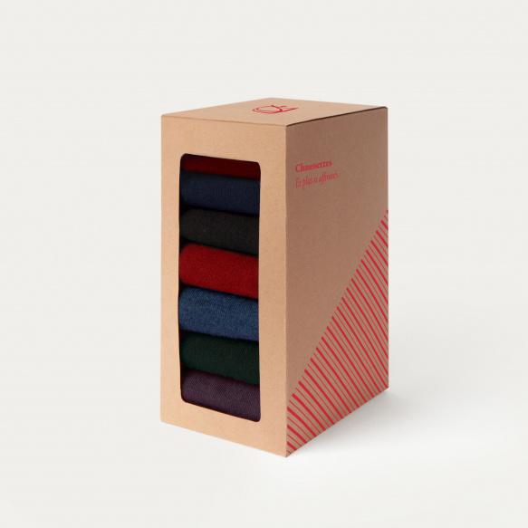 Coffret semainier de chaussettes de couleur