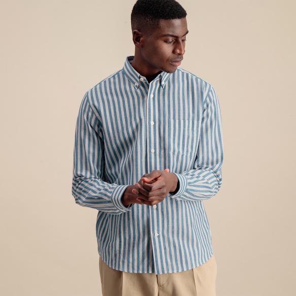 Chemise décontractée en coton, lin et ramie à rayures bleues et blanches