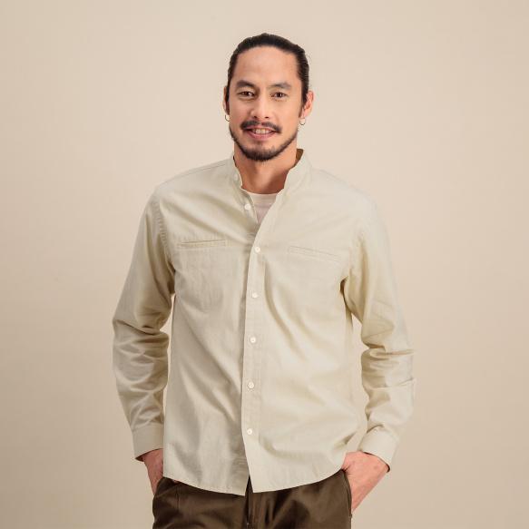 Chemise décontractée en coton blanc cassé