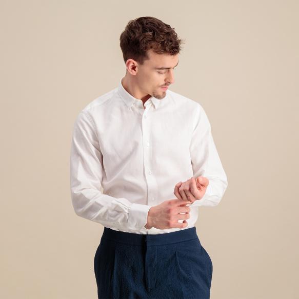Chemise cintrée en lin et coton blanche
