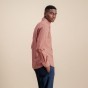 Cotton, linen and ramie red with white stripes casual shirt