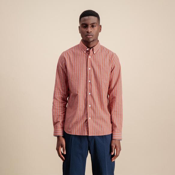Chemise décontractée en coton, lin et ramie rouge à rayures blanches