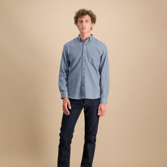 Chemise décontractée en flanelle épaisse à chevrons bleu clair