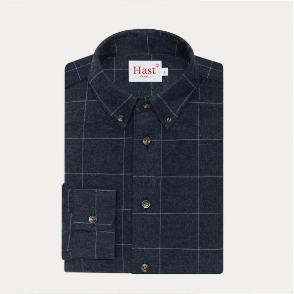 Chemise décontractée en flanelle bleue à carreaux gris