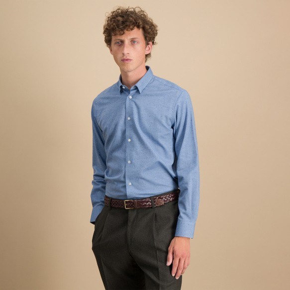 Classic fit heathered blue...