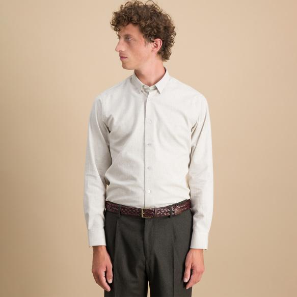 Slim fit beige flannel shirt