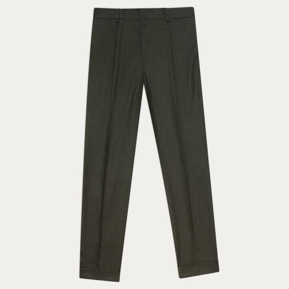 Pantalon à pinces en laine vert